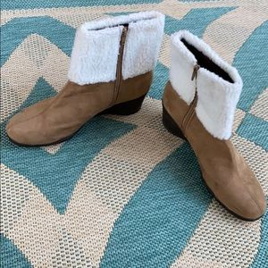 Tan AEROSOLES Bootie with Faux Fur and Wedged Heel